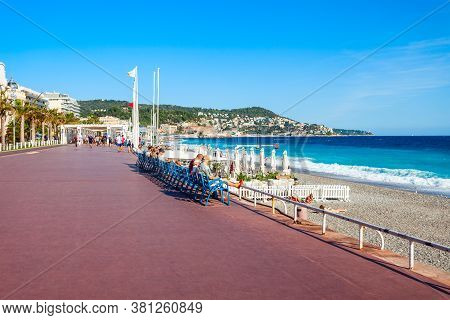 Nice, France - September 25, 2018: The Promenade Des Anglais Is A Promenade Along The Mediterranean