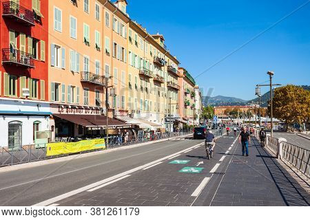 Nice, France - September 27, 2018: Nice Port With Boats And Yachts. Nice Is A City Located On The Fr