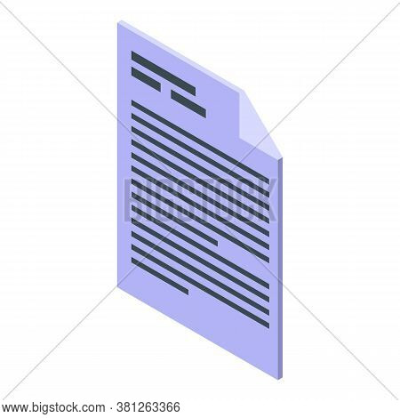 Subsidy Paper Icon. Isometric Of Subsidy Paper Vector Icon For Web Design Isolated On White Backgrou