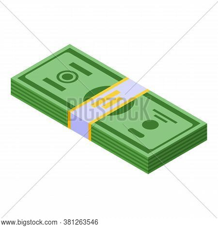 Cash Money Pack Icon. Isometric Of Cash Money Pack Vector Icon For Web Design Isolated On White Back