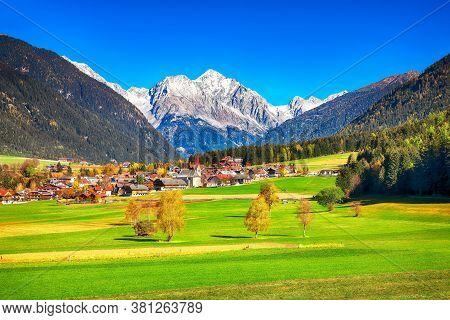 Scenic Image Of Alpine Village Rasun Anterselva.  Location: Rasun Anterselva, Bolzano, South Tyrol,