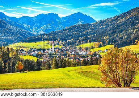 Scenic Image Of Alpine Village Valdaora Di Sotto.  Location: Valdaora Di Sotto, Bolzano, South Tyrol