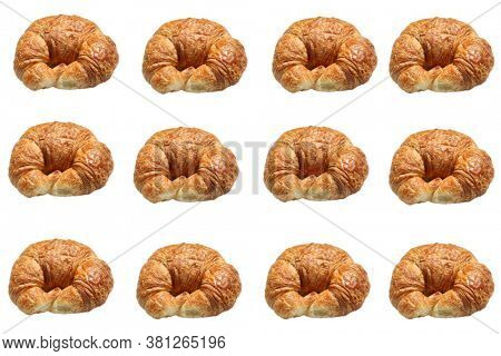 Croissant. Butter Croissant. Fresh Baked Croissants.  isolated on white. Room for text. Backgrounds and Textures.