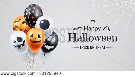 Happy Halloween Banner Design. Halloween Background With A Bunch Of Helium Balloons And Spooky Spide