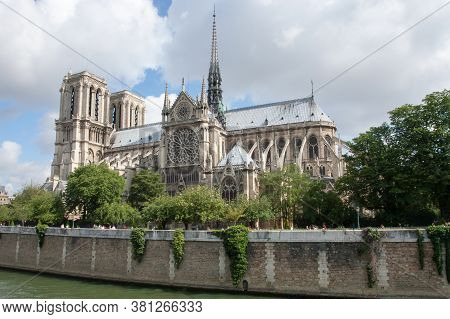 Notre Dame Cathedral By The River Seine, Paris, France