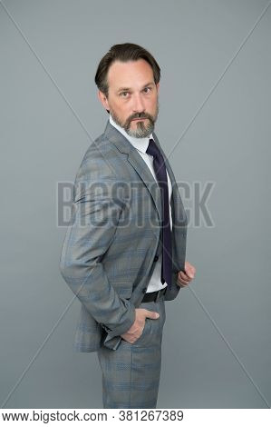 Classic Wont Go Out Of Fashion. Senior Lawyer Grey Background. Fashion Look Of Mature Man. White Col