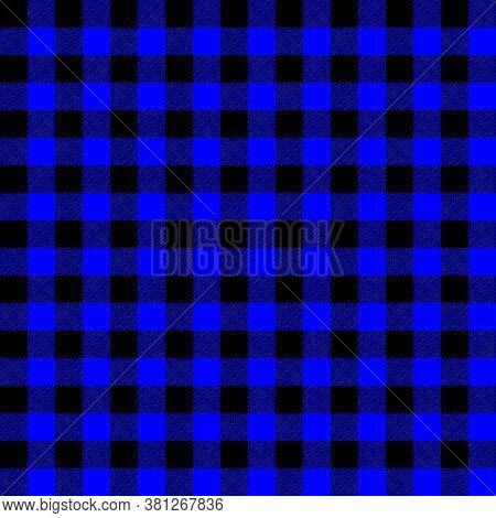 Tartan Plaid. Scottish Pattern In Black And Blue Cage. Scottish Cage. Traditional Scottish Checkered