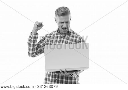 Online Betting Site. Happy Man Bet Online Isolated On White. Online Casino And Gambling. Computer On