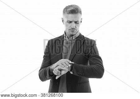 Punctuality Is In The Business World. Handsome Man Check Watch. Businessman With Wrist Watch On Hand