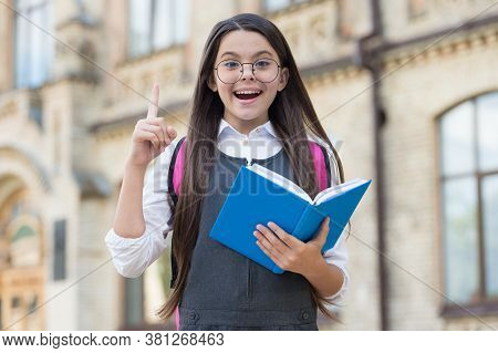 Bright Idea. Happy Child With Raised Finger Outdoors. Little Kid Hold School Book. Education Activit
