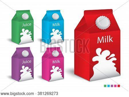 Milk Boxes, Juice Boxes Set Vector Realistic. Mock-up Packages. Color Paper Drink Packaging 3d. Prod