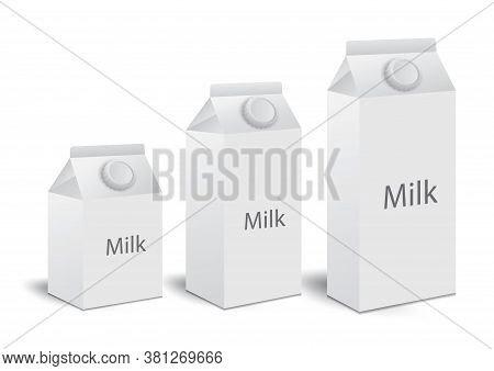 Milk Boxes, Juice Boxes Set Vector Realistic. Mock-up Packages. White Paper Drink Packaging 3d.