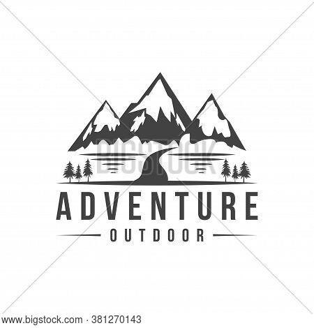 Mountain  Outdoor Expedition Adventure Logo Vector Illustration