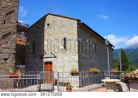 Rustic Christian Church With Typical Stone Walls In A Rural Village In Tuscany In Sommocolonia