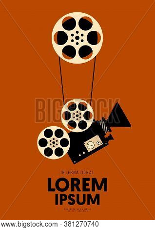 Movie And Film Poster Design Template Background Vintage Film Reel And Camera. Design Element Can Be