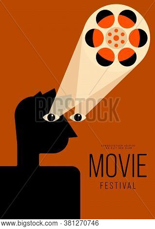 Movie And Film Poster Design Template Background Vintage Film Reel. Design Element Can Be Used For B