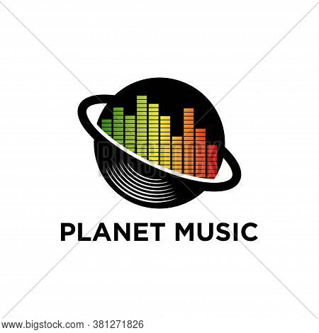 Music Logo With Planet And Wave Concept Vector
