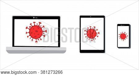Smartphone, Tablet, And Laptop Are Installed With A Virus Screensaver Isolated On A White Background
