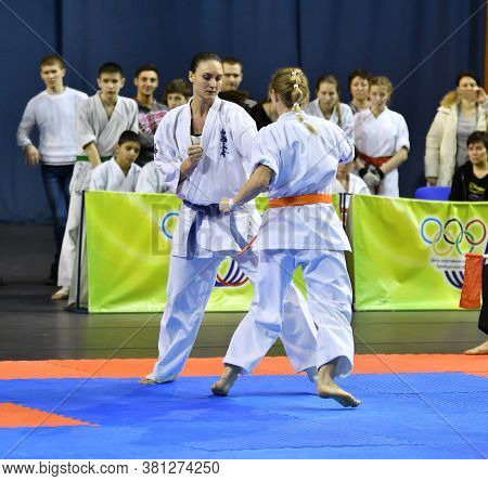 Orenburg, Russia - March 5, 2017 Year: Girls Compete In Karate