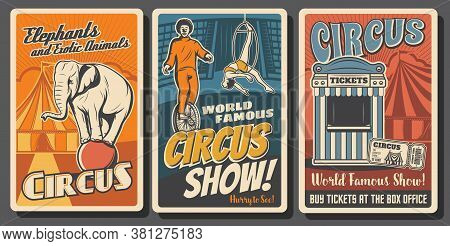 Circus Performers Retro Vector Posters. Funfair Carnival, Clowns And Acrobats. Big Top Circus Tent T