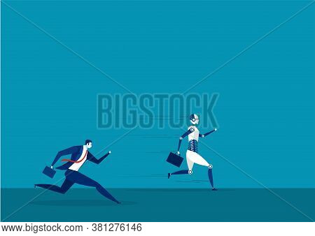 Robot And Businessman Running On Street Compete Concept .