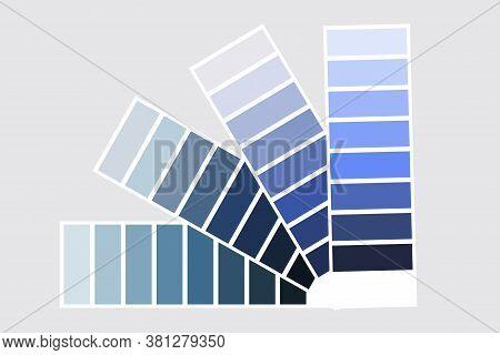 Color Palette. Fan Palette. Multi-color Palette. Smik Colors. Blue Gradient Palette. Vector Image.