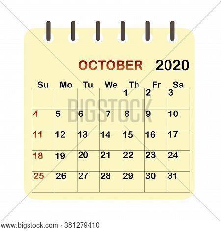 Calendar 2020. October 2020. Okrober Fest In October. Wall Planner. Vector Image.
