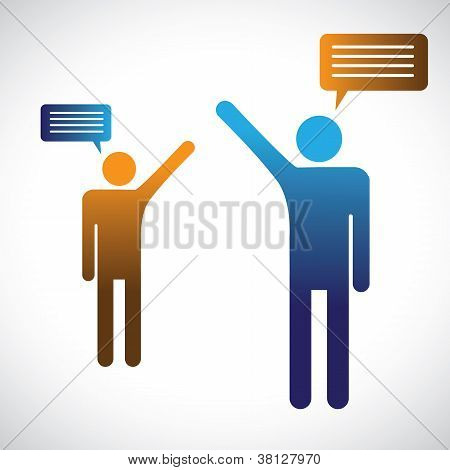 Concept Graphic Of People Talking, Speaking Or Chatting. The Illustration Shows Two People Symbols W