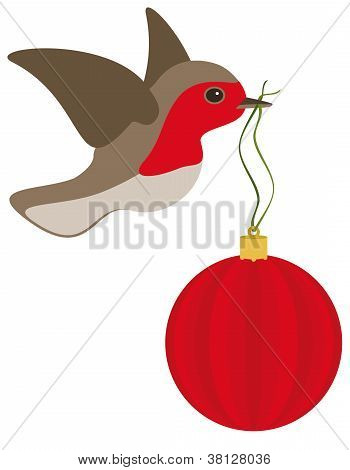 Robin And Christmas Bulb