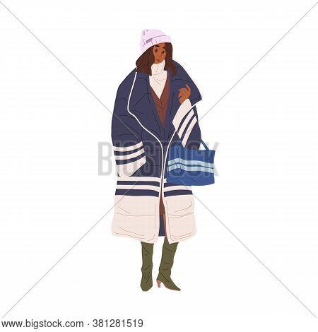 Black Skin Woman Demonstrate Stylish Outerwear Vector Flat Illustration. Trendy Girl In Warm Down Ja
