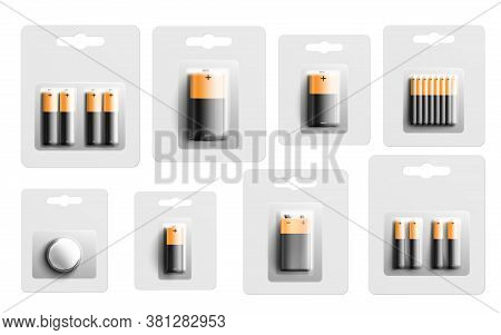 Electric Battery Packaging Mockup Set - Realistic Cell Energy Batteries