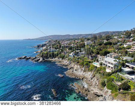 Aerial View Of Laguna Beach Coastline Town And Beach, Southern California, Usa