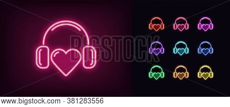 Neon Music Heart Icon. Glowing Neon Heart Sign With Headphones, Heartbeat Melody In Vivid Colors. Mu