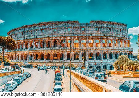 Rome, Italy-may 08, 2017:  Beautiful Landscape Of The Colosseum In Rome Through Street Via Degli Ann