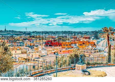 Beautiful Landscape View Of Rome, Or His Called Eternal City From Terrazza Del Pincio. Italy.