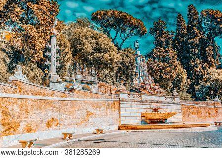Fountain Of Rome's Goddess And Terrace De Pincio (terrazza Del Pincio) Near People Square (piazza De