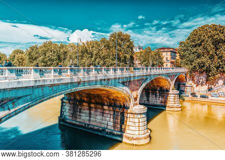 Rome, Italy - May 08, 2017 :people On Regina Margherita Bridge (ponte Regina Margherita) In Centre O
