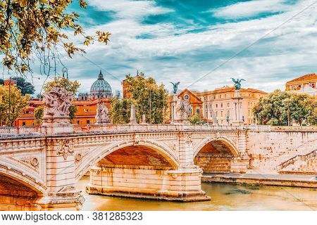 Bridge Vittorio Emanuele Ii(ponte Vittorio Emanuele Ii) Near Vatican. Rome. Italy.