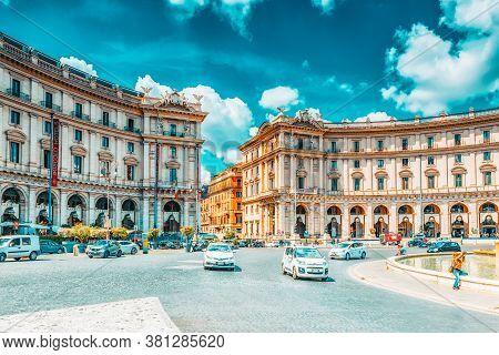 Rome, Italy - May 10, 2017 : Republic Square (piazza Della Repubblica) And The  Fontana Esedra. Ital