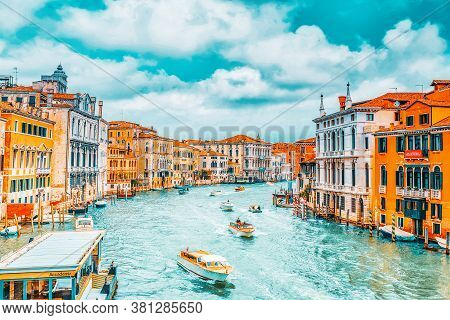 Venice, Italy - May 11, 2017 :views Of The Most Beautiful Canal Of Venice - Grand Canal Water Street
