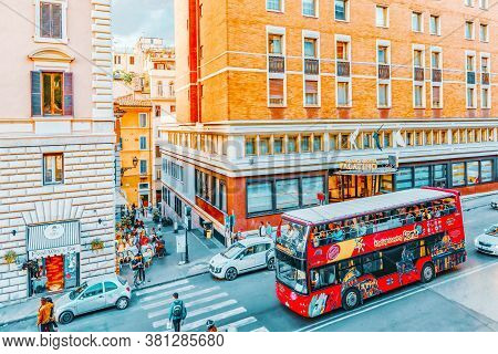 Rome, Italy- May 07, 2017:  Beautiful Landscape  Urban And Historical View Of The Rome, Street, Peop