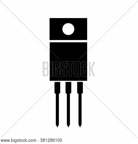 Field Effect Transistor Icon On White Background. Power Transistor Sign. Common Electronics Part On