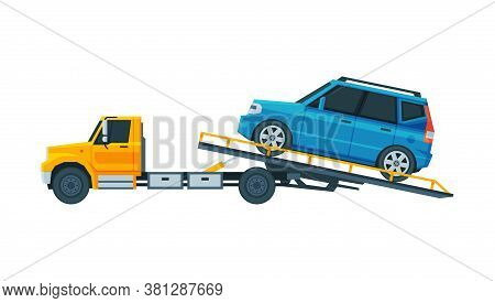 Blue Car Evacuating On Tow Truck, Roadside Assistance Service Flat Vector Illustration