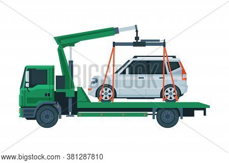 Tow Truck Evacuating White Car, Road Assistance And Evacuation Service Flat Vector Illustration