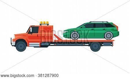 Green Car Transporting On Tow Truck, Roadside Assistance Service Flat Vector Illustration
