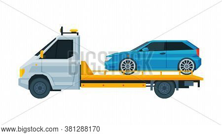 Blue Car Transporting On Tow Truck, Roadside Assistance Service Flat Vector Illustration