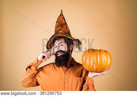 Happy Halloween Weekends. Design For Halloween Banner. Trick Or Treat. Young Man With Witch Hat Read