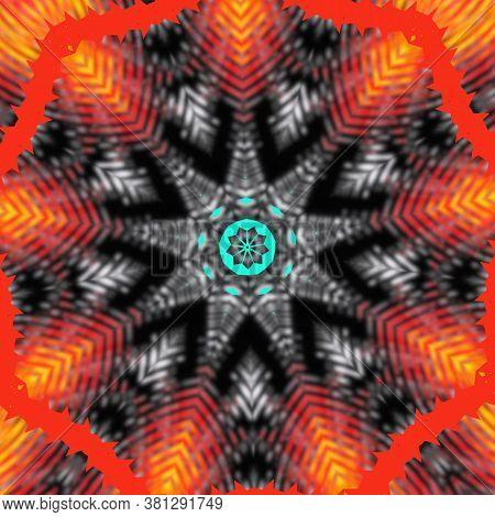 Abstract Golden Kaleidoscope Background. Beautiful Multicolor Kaleidoscope Texture. Unique Kaleidosc