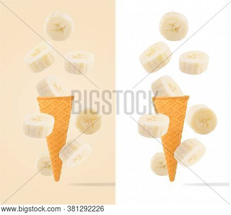Ice Cream Cones With Ingredients Falling In Motion