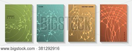 Biotechnology And Neuroscience Vector Covers With Neuron Cells Structure. Curly Waves Rete Backgroun